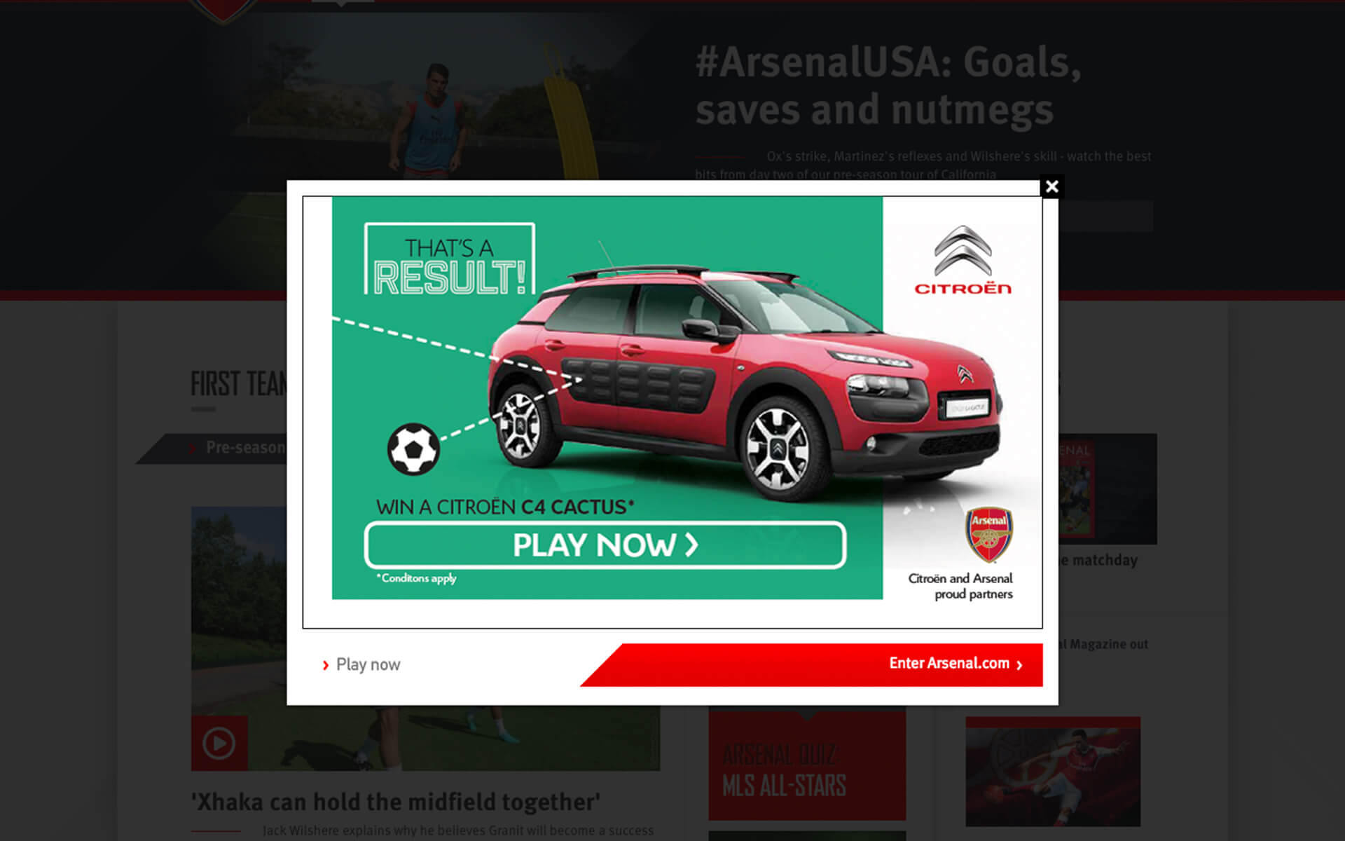 Arsenal competition splash page